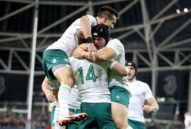 Conor Murray and Richardt Strauss celebrate Tommy Bowe's try