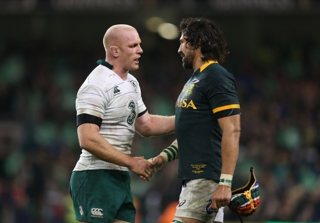 Paul O'Connell and Victor Matfield after the match