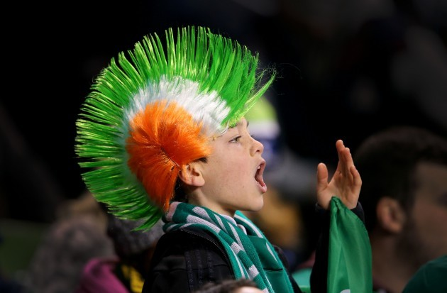 A Ireland supporter cheering on the team