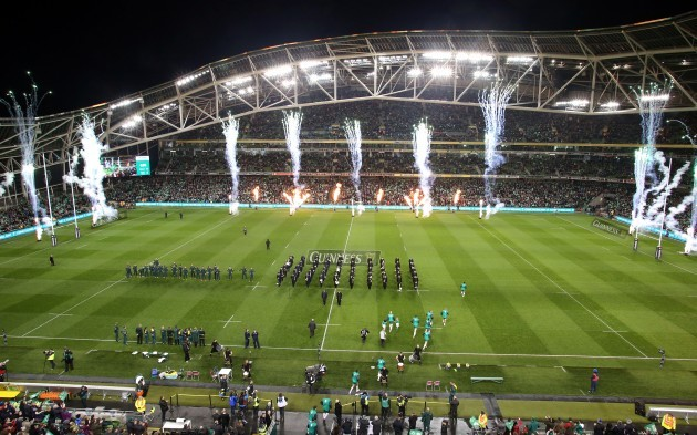 General view of the Ireland team as they enter the pitch