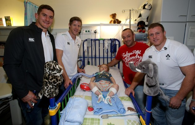 Robbie Diack, Simon Easterby and Sean Cronin with Billy Goulding and his Dad Victor