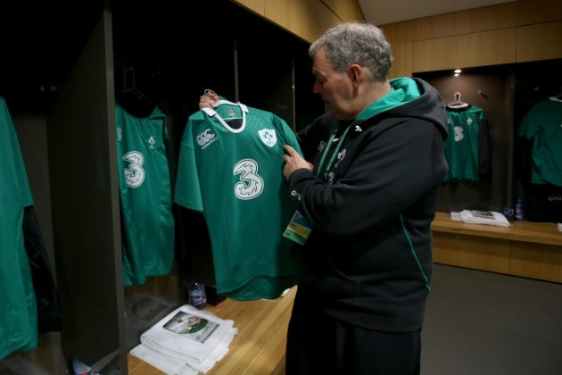 Paddy Rala O'Reilly hangs up the Irish jersey's in the changing room