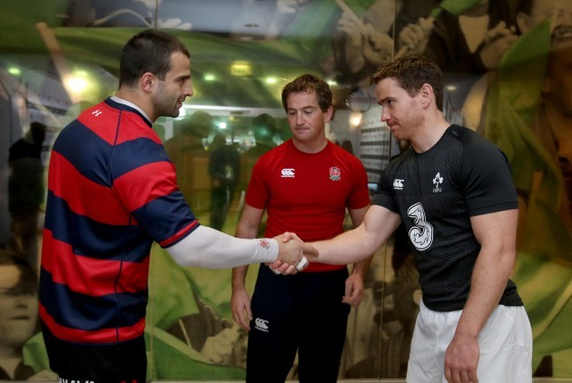Eoin Reddan and David Kacharavawith JP Doyle during the coin toss