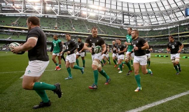 The Ireland team warm up