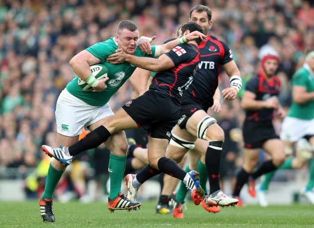 Dave Kilcoyne charges at the Georgian defensive line
