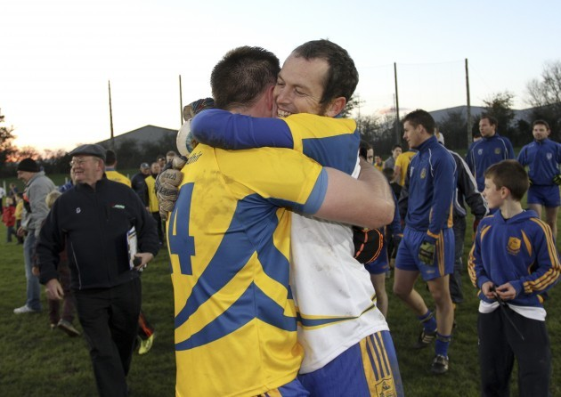 Tom Wall and Liam Lawlor celebrate at the end of the game
