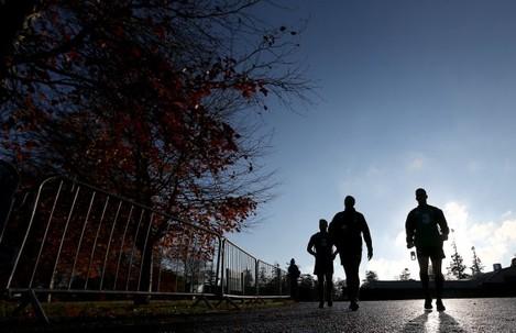 Ireland players make their way to training