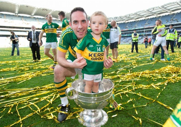 Declan O'Sullivan with his son Ollie after the game