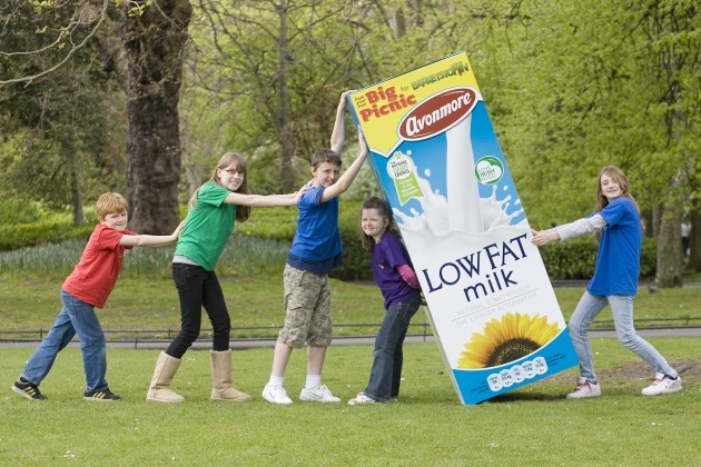 .  Picnic season is back. L-R Lochlann Hackett aged 10, Loran Sullivan 17, James Sullivan 12, Leonie Hackett 7 and Roisin Hackett 11 roll out their picnic blanket for the launch of the second annual Avonmore Big Picnic for Barretstow