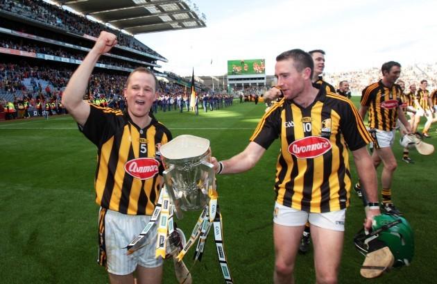 Tommy Walsh and Eddie Brennan celebrate