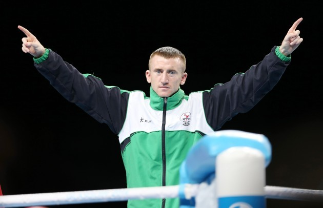 Paddy Barnes celebrates winning a gold medal on the podium