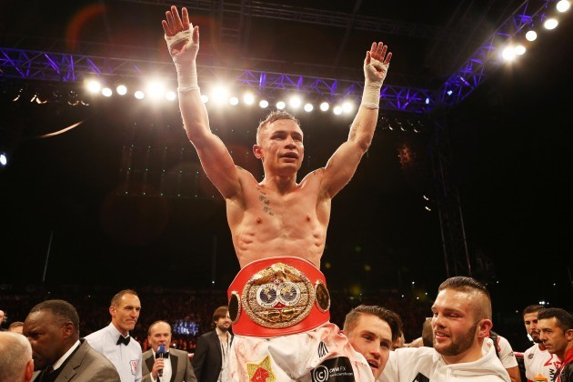 Carl Frampton celebrates winning