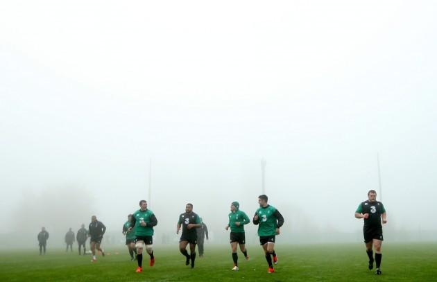General view of the Irish team training