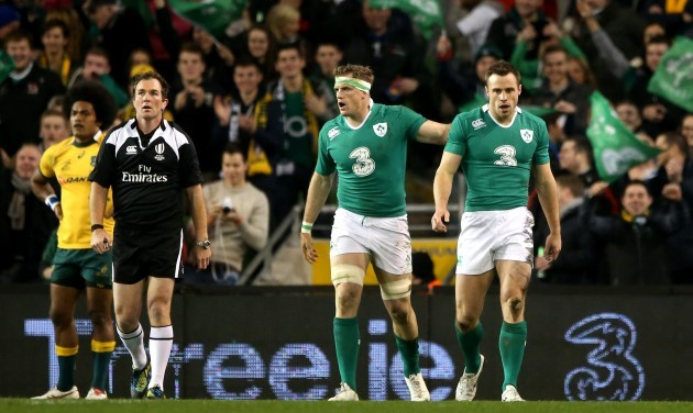 Tommy Bowe celebrates scoring his side's second try with Jamie Heaslip