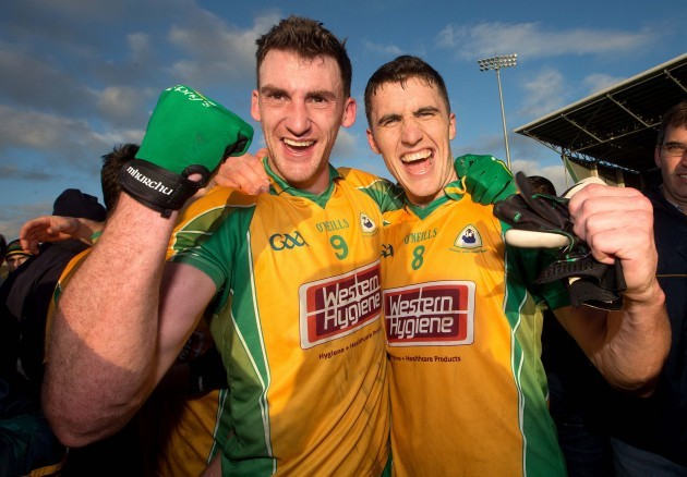 Ronan Steede and Daithi Burke celebrate after the game