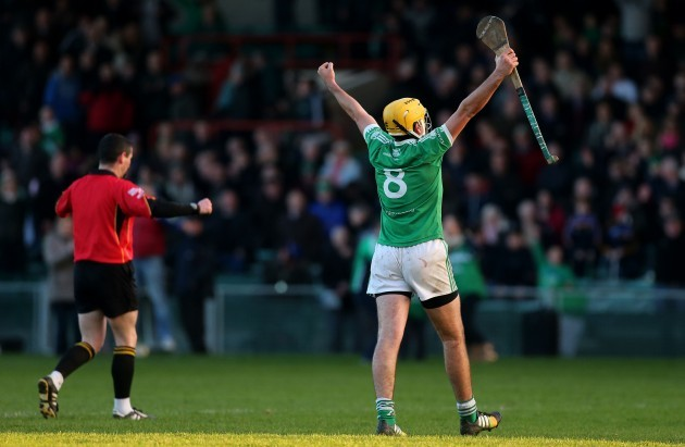 Jake Mulcahy celebrates at the final whistle