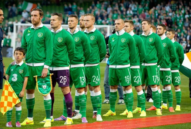 The Ireland team line up for the national anthem