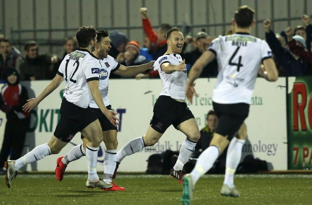 Stephen O'Donnell is congratulated by Richie Towell and Ruadhri Higgins
