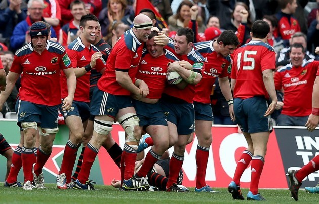 Dave Kilcoyne celebrates his try with Paul O'Connell