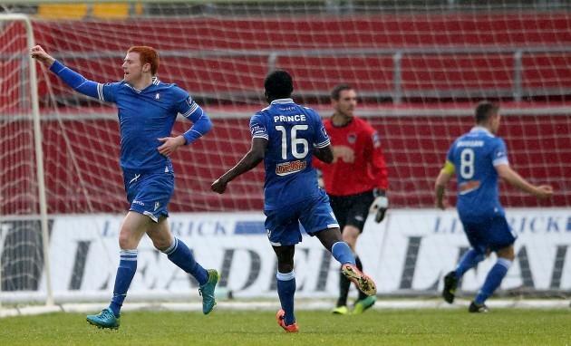 Rory Gaffney celebrates scoring a goal