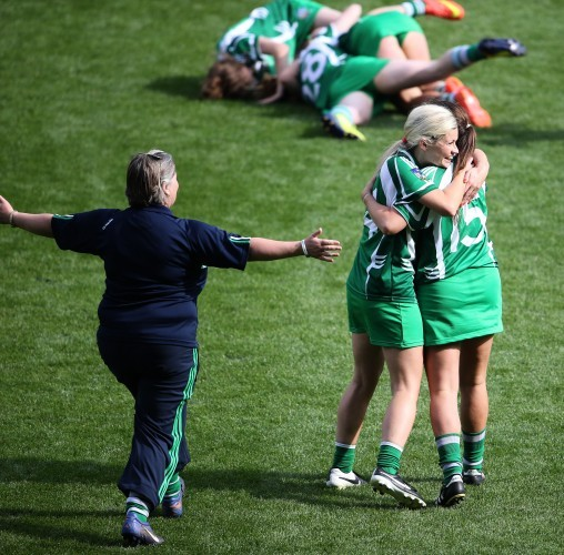 Aoife Sheehan and Mairead Fitzgerald celebrate 14/9/2014