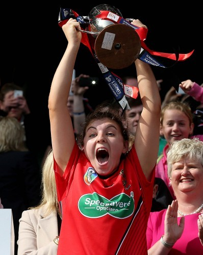 Niamh Mallon lifts the cup