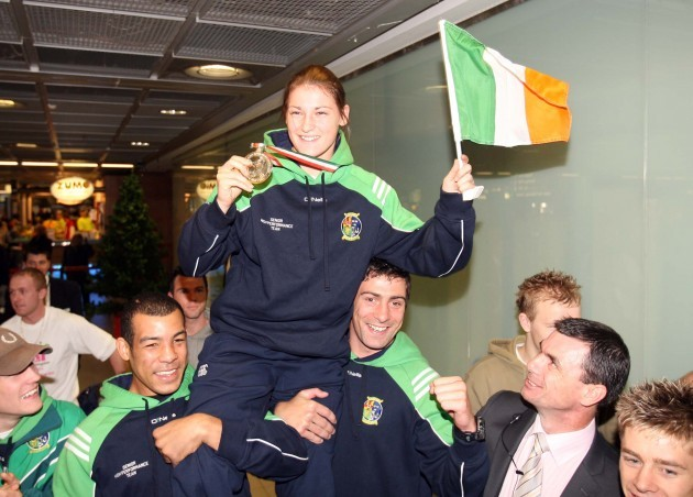 Katie Taylor arrives home