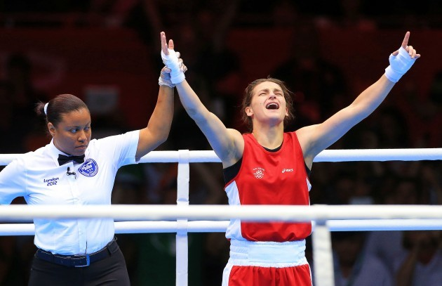 Katie Taylor celebrates winning olympic gold