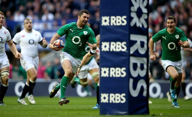 Rob Kearney goes free to score a try