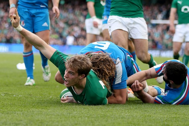 Andrew Trimble goes over for their second try
