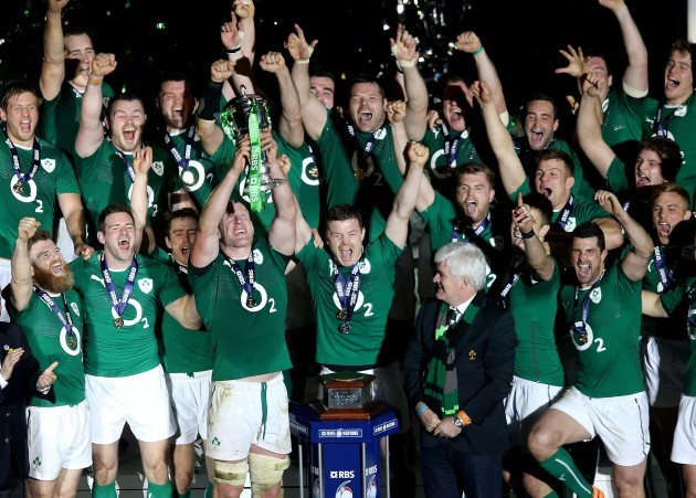 The Ireland team celebrate winning the 2014 RBS 6 Nations championship