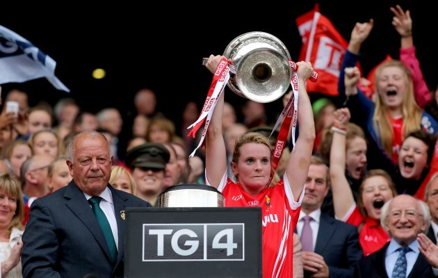 Briege Corkery lifts The Brendan Martin Cup