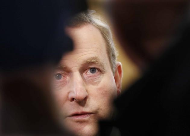 Taoiseach Enda Kenny speaks to the medi