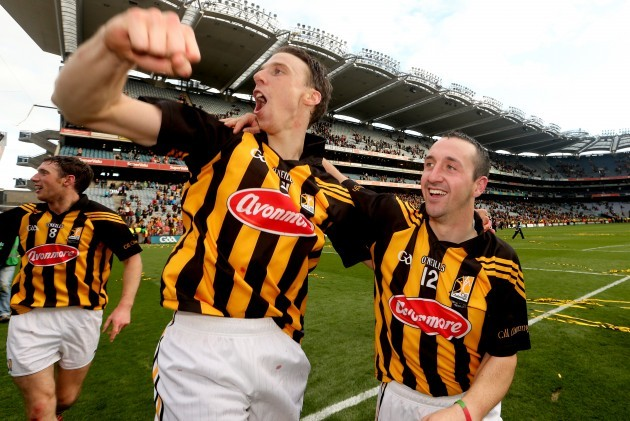 Brian Hogan and Eoin Larkin celebrate after the game