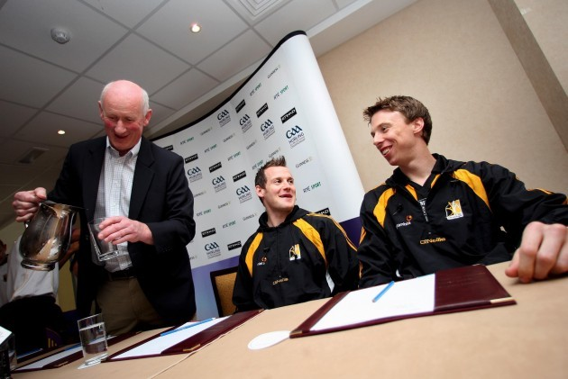 Manager Brian Cody with Jackie Tyrrell and Brian Hogan