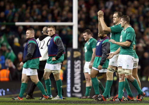 Devin Toner and Dave Foley applaud the crowed