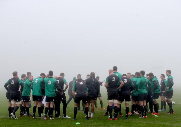 The Ireland team at training
