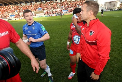 Brian O'Driscoll and Jonny Wilkinson after the game