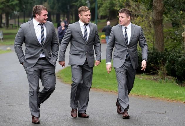 Jack McGrath, Ian Madigan and Brian O'Driscoll arrive