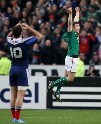 Brian O'Driscoll celebrates at the final whistle