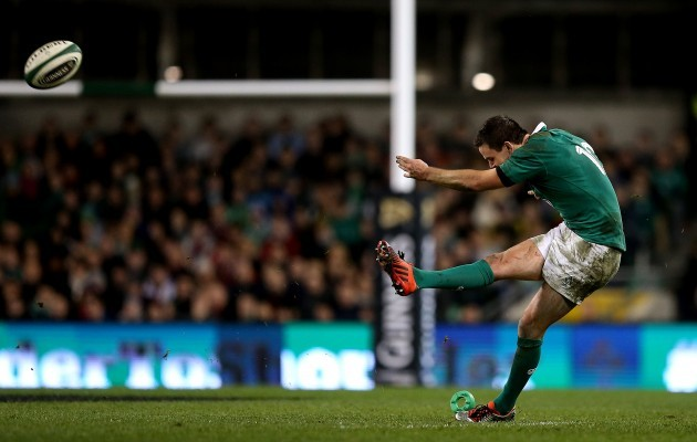 Jonathan Sexton kicks a second half penalty