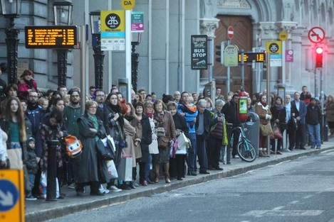 15/11/2014. Water Protest. Pictured people await t