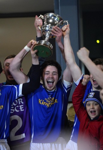 Conor Moynagh lifts the cup 9/4/2014