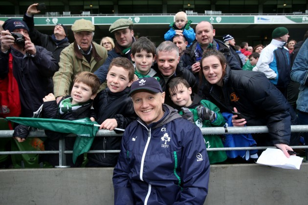 Joe Schmidt poses for a photo with some fans