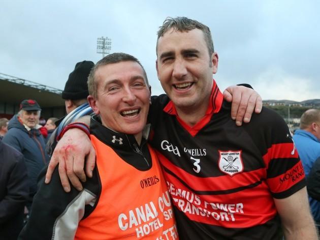 Tommy Mullaly celebrates with full-back Gary Doyle