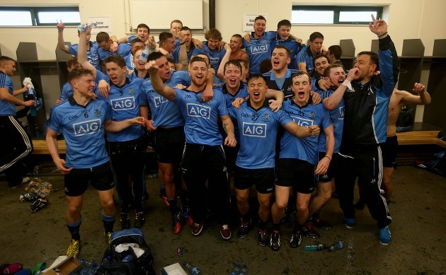 The Dublin team celebrate winning after the game