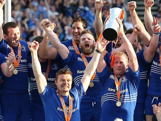 Brian O'Driscoll and Leo Cullen lift the RaboDirect PRO12 Trophy