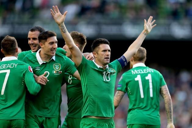 Robbie Keane celebrates scoring