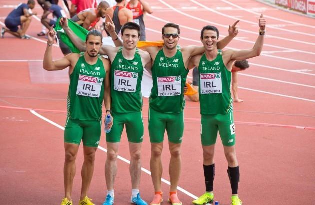 Richard Morrissey, Mark English, Brian Gregan and Thomas Barr celebrate setting a new National Record