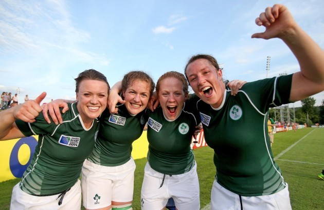 Lynne Cantwell, Fiona Coghlan, Fiona Hayes and Gillian Bourke celebrate after the game 5/8/2014